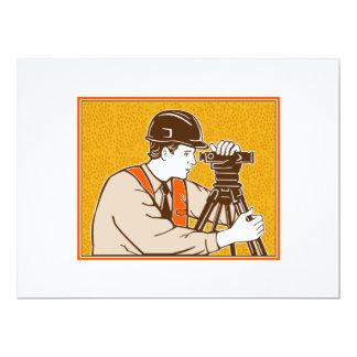 Surveyor Geodetic Civil Engineer Retro 17 Cm X 22 Cm Invitation Card