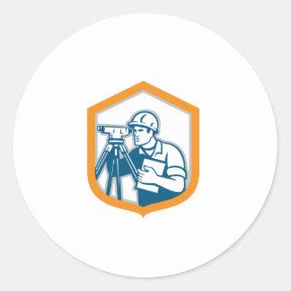 Surveyor Geodetic Engineer Survey Theodolite Shiel Round Stickers
