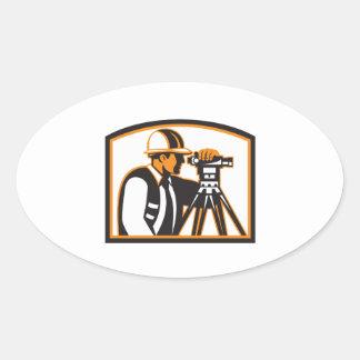 Surveyor Geodetic Engineer Survey Theodolite Oval Sticker