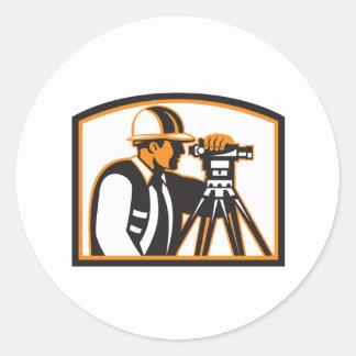 Surveyor Geodetic Engineer Survey Theodolite Round Sticker