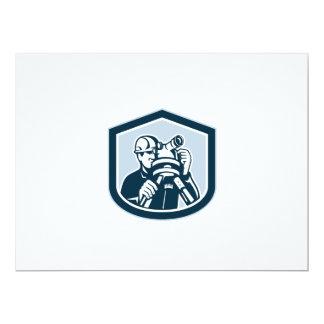 Surveyor Surveying Theodolite Shield Retro 17 Cm X 22 Cm Invitation Card