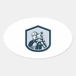 Surveyor Surveying Theodolite Shield Retro Oval Sticker