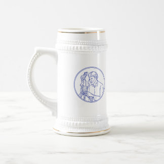 Surveyor Theodolite Circle Mono Line Beer Stein