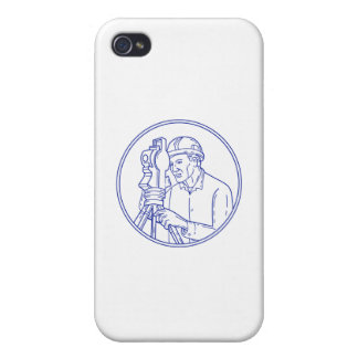 Surveyor Theodolite Circle Mono Line iPhone 4 Cover