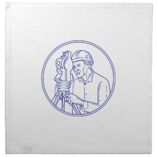 Surveyor Theodolite Circle Mono Line Napkin