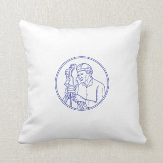 Surveyor Theodolite Circle Mono Line Throw Pillow