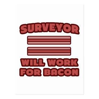 Surveyor .. Will Work For Bacon Postcard