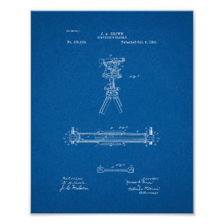 Surveyor's Transit Patent - Blueprint Poster