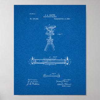 Surveyor's Transit Patent - Blueprint Poster