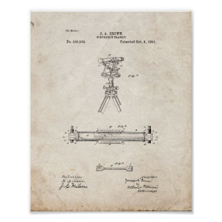 Surveyor's Transit Patent - Old Look Poster