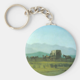 Surveyor's Wagon in the Rockies - Albert Bierstadt Keychain