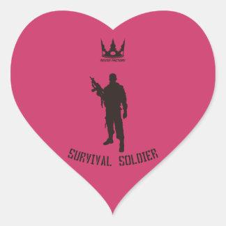 SURVIVAL-SOLDIER (black) Heart Sticker