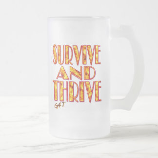 Survive and Thrive Frosted Glass Beer Mug