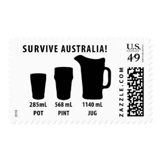 survive australia - beer postage stamp