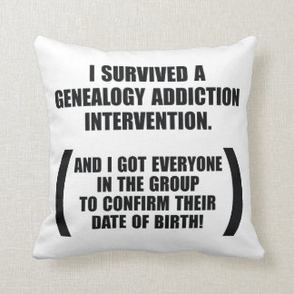Survived Genealogy Addiction Intervention Throw Pillow