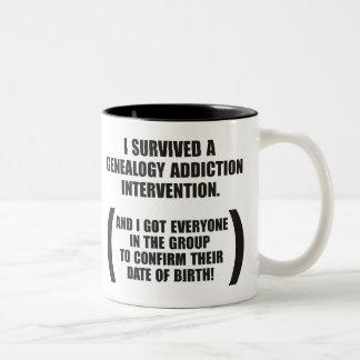 Survived Genealogy Addiction Intervention Two-Tone Coffee Mug