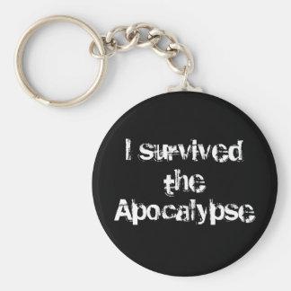 Survived the Apocalypse white Basic Round Button Keychain