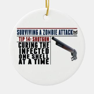 """""""SURVIVING A ZOMBIE ATTACK: 14 SHOTGUNS"""" Christmas Ceramic Ornament"""