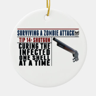 """""""SURVIVING A ZOMBIE ATTACK: 14 SHOTGUNS"""" Christmas Double-Sided Ceramic Round Christmas Ornament"""