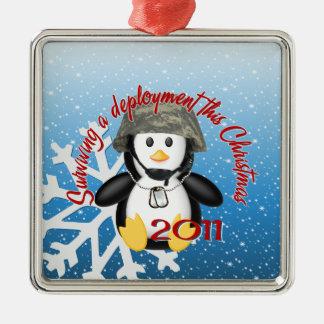 Surviving Deployment 2011 Penguin Square Metal Christmas Ornament