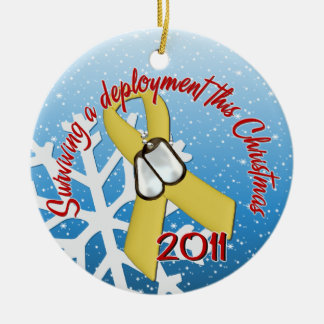 Surviving Deployment 2011 Yellow Ribbon Double-Sided Ceramic Round Christmas Ornament