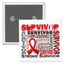Survivor 10 Stroke Pinback Button