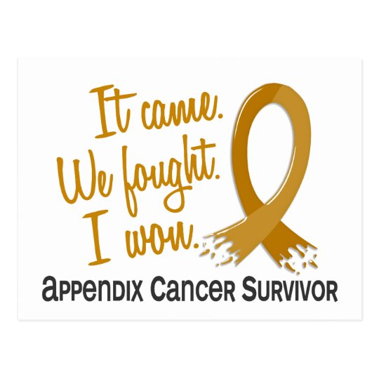 Survivor 11 Appendix Cancer Postcard