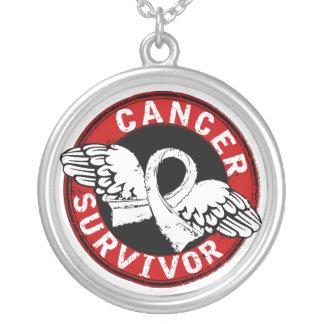 Survivor 14 Lung Cancer Round Pendant Necklace