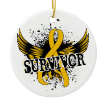 Survivor 16 Childhood Cancer Ceramic Ornament