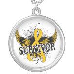 Survivor 16 Childhood Cancer Round Pendant Necklace