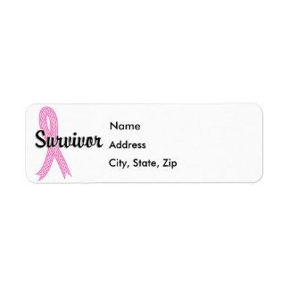 Survivor 17 Breast Cancer Return Address Label