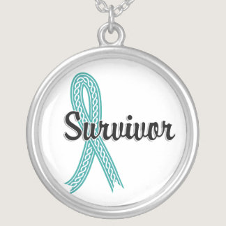 Survivor 17 Ovarian Cancer Silver Plated Necklace
