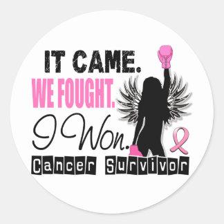 Survivor 22 Breast Cancer Round Sticker