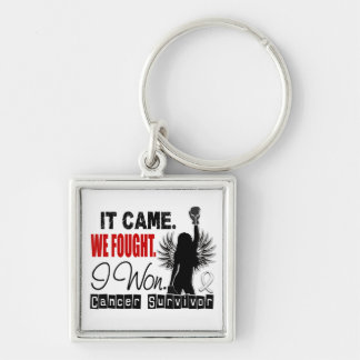Survivor 22 Lung Cancer Silver-Colored Square Keychain