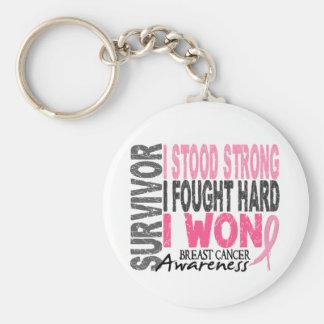 Survivor 4 Breast Cancer Basic Round Button Keychain