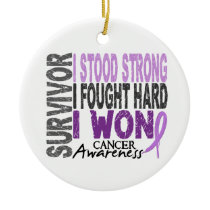 Survivor 4 Cancer Ceramic Ornament