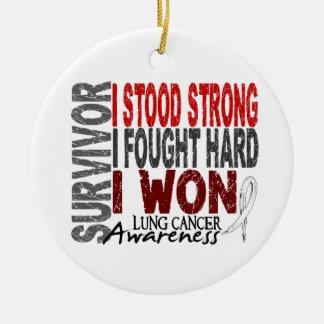 Survivor 4 Lung Cancer Ceramic Ornament