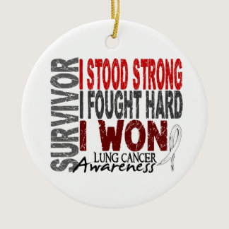 Survivor 4 Lung Cancer Ceramic Ornament