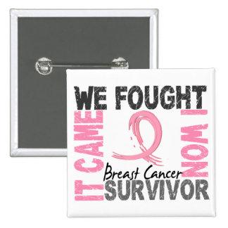 Survivor 5 Breast Cancer Pinback Button