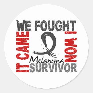 Survivor 5 Melanoma Classic Round Sticker