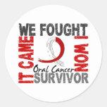 Survivor 5 Oral Cancer Round Stickers