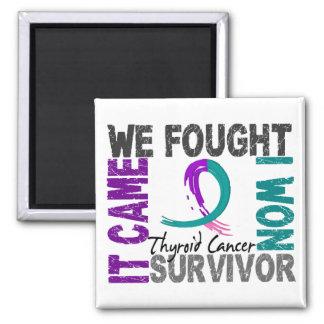 Survivor 5 Thyroid Cancer 2 Inch Square Magnet