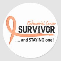Survivor 8 Endometrial Cancer Classic Round Sticker