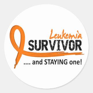 Survivor 8 Leukemia Classic Round Sticker