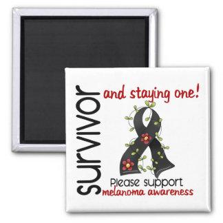 Survivor 9 Melanoma 2 Inch Square Magnet