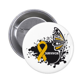 Survivor Abstract Butterfly Appendix Cancer Buttons