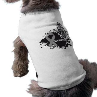 Survivor Abstract Butterfly Brain Cancer Pet T-shirt