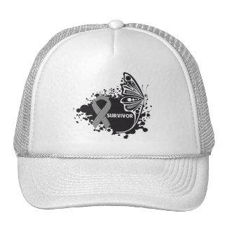 Survivor Abstract Butterfly Brain Cancer Trucker Hats