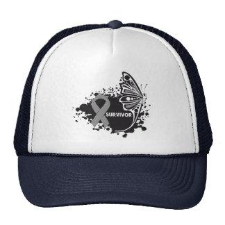 Survivor Abstract Butterfly Brain Cancer Hat