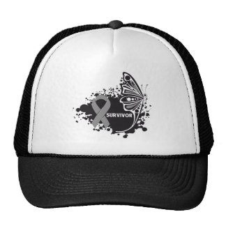 Survivor Abstract Butterfly Brain Cancer Hats